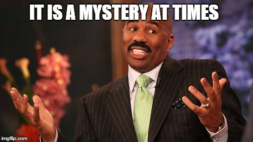 Steve Harvey Meme | IT IS A MYSTERY AT TIMES | image tagged in memes,steve harvey | made w/ Imgflip meme maker
