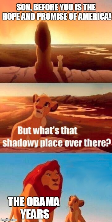 Let's Keep Them In The Shadowy Dustbin Of History | SON, BEFORE YOU IS THE HOPE AND PROMISE OF AMERICA! THE OBAMA YEARS | image tagged in memes,simba shadowy place,obama,epic fail | made w/ Imgflip meme maker