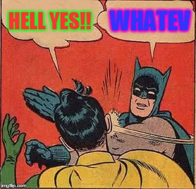 Batman Slapping Robin Meme | HELL YES!! WHATEV | image tagged in memes,batman slapping robin | made w/ Imgflip meme maker