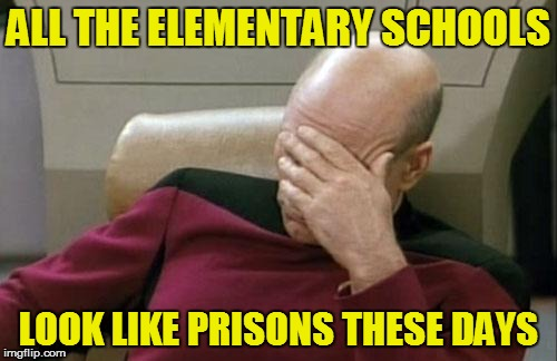 Captain Picard Facepalm Meme | ALL THE ELEMENTARY SCHOOLS LOOK LIKE PRISONS THESE DAYS | image tagged in memes,captain picard facepalm | made w/ Imgflip meme maker