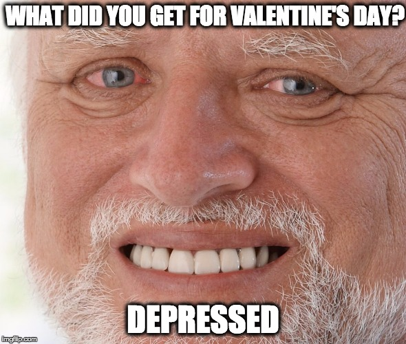 I don't think you understood the question...yes I did | WHAT DID YOU GET FOR VALENTINE'S DAY? DEPRESSED | image tagged in hide the pain harold,valentine's day,forever alone | made w/ Imgflip meme maker