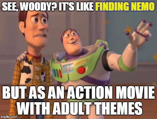 X, X Everywhere Meme | SEE, WOODY? IT'S LIKE FINDING NEMO BUT AS AN ACTION MOVIE WITH ADULT THEMES FINDING NEMO | image tagged in memes,x x everywhere | made w/ Imgflip meme maker