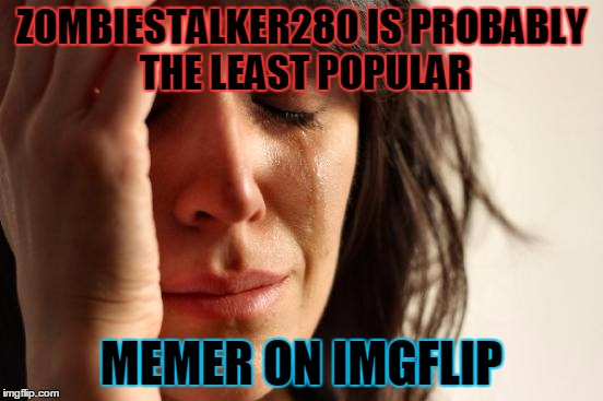 First World Problems Meme | ZOMBIESTALKER280 IS PROBABLY THE LEAST POPULAR MEMER ON IMGFLIP | image tagged in memes,first world problems | made w/ Imgflip meme maker