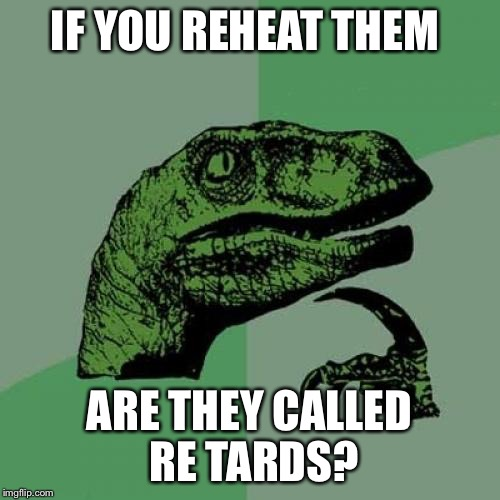 Philosoraptor Meme | IF YOU REHEAT THEM ARE THEY CALLED RE TARDS? | image tagged in memes,philosoraptor | made w/ Imgflip meme maker