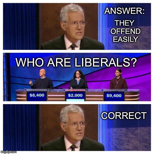 Jeopardy | THEY OFFEND EASILY CORRECT WHO ARE LIBERALS? ANSWER: | image tagged in jeopardy | made w/ Imgflip meme maker