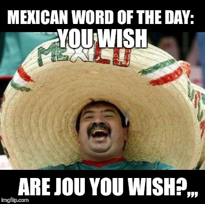 Mexican Word of the Day (LARGE) | YOU WISH ARE JOU YOU WISH?,,, | image tagged in mexican word of the day large | made w/ Imgflip meme maker