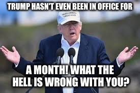 TRUMP HASN'T EVEN BEEN IN OFFICE FOR A MONTH! WHAT THE HELL IS WRONG WITH YOU? | made w/ Imgflip meme maker