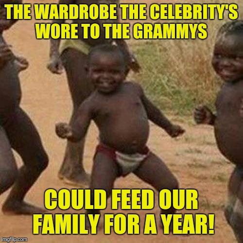 Third World Success Kid Meme | THE WARDROBE THE CELEBRITY'S WORE TO THE GRAMMYS COULD FEED OUR FAMILY FOR A YEAR! | image tagged in memes,third world success kid | made w/ Imgflip meme maker