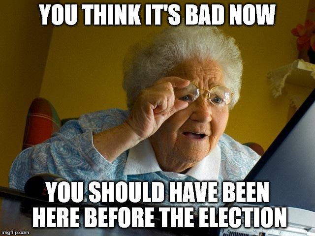 Grandma Finds The Internet Meme | YOU THINK IT'S BAD NOW YOU SHOULD HAVE BEEN HERE BEFORE THE ELECTION | image tagged in memes,grandma finds the internet | made w/ Imgflip meme maker