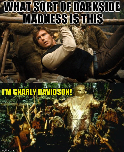 Look! Something good came out of the Grammy's! | WHAT SORT OF DARKSIDE MADNESS IS THIS I'M GNARLY DAVIDSON! | image tagged in han solo,c3po,gnarly davidson | made w/ Imgflip meme maker