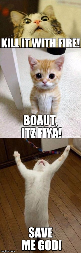 KILL IT WITH FIRE! SAVE ME GOD! BOAUT, ITZ FIYA! | made w/ Imgflip meme maker