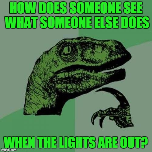 Philosoraptor Meme | HOW DOES SOMEONE SEE WHAT SOMEONE ELSE DOES WHEN THE LIGHTS ARE OUT? | image tagged in memes,philosoraptor | made w/ Imgflip meme maker
