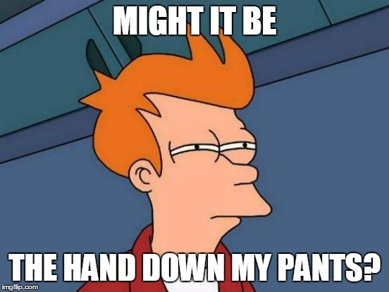 Futurama Fry Meme | MIGHT IT BE THE HAND DOWN MY PANTS? | image tagged in memes,futurama fry | made w/ Imgflip meme maker