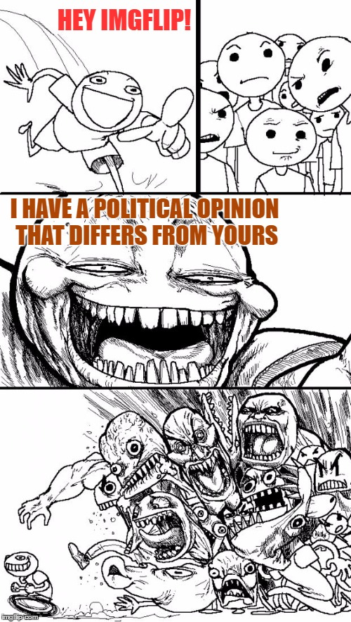 Oh Noes! | HEY IMGFLIP! I HAVE A POLITICAL OPINION THAT DIFFERS FROM YOURS | image tagged in memes,hey internet,you don't have to agree to be civil,debate not hate,joke and poke,nothing personal | made w/ Imgflip meme maker
