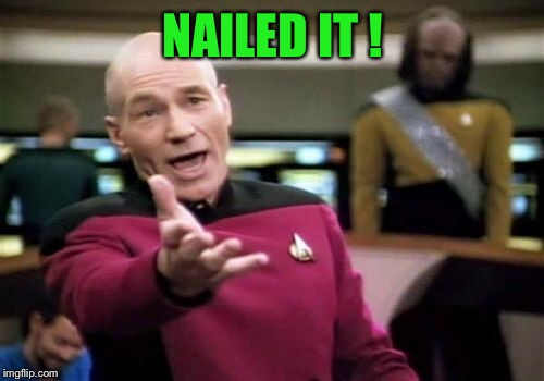 Picard Wtf Meme | NAILED IT ! | image tagged in memes,picard wtf | made w/ Imgflip meme maker