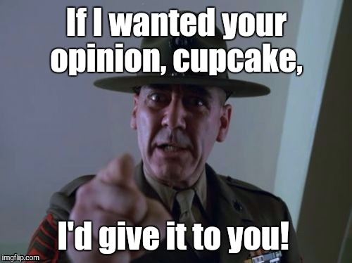 1ayvnh.jpg  | If I wanted your opinion, cupcake, I'd give it to you! | image tagged in 1ayvnhjpg | made w/ Imgflip meme maker