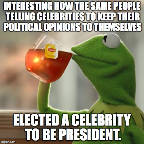 But Thats None Of My Business | INTERESTING HOW THE SAME PEOPLE TELLING CELEBRITIES TO KEEP THEIR POLITICAL OPINIONS TO THEMSELVES ELECTED A CELEBRITY TO BE PRESIDENT. | image tagged in memes,but thats none of my business,kermit the frog,donald trump,celebrity,hypocrisy | made w/ Imgflip meme maker