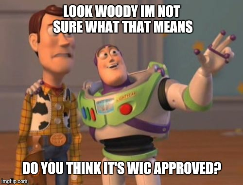 X, X Everywhere Meme | LOOK WOODY IM NOT SURE WHAT THAT MEANS DO YOU THINK IT'S WIC APPROVED? | image tagged in memes,x x everywhere | made w/ Imgflip meme maker