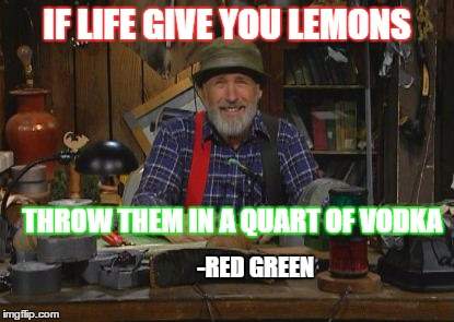 IF LIFE GIVE YOU LEMONS THROW THEM IN A QUART OF VODKA -RED GREEN | image tagged in red green | made w/ Imgflip meme maker
