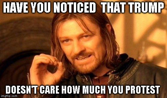 One Does Not Simply Meme | HAVE YOU NOTICED  THAT TRUMP DOESN'T CARE HOW MUCH YOU PROTEST | image tagged in memes,one does not simply | made w/ Imgflip meme maker
