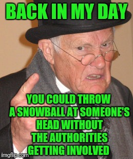 Back In My Day Meme | BACK IN MY DAY YOU COULD THROW A SNOWBALL AT SOMEONE'S HEAD WITHOUT THE AUTHORITIES GETTING INVOLVED | image tagged in memes,back in my day | made w/ Imgflip meme maker