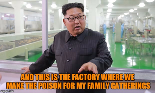 Kim 'The Executioner' Jong Un | AND THIS IS THE FACTORY WHERE WE MAKE THE POISON FOR MY FAMILY GATHERINGS | image tagged in kim jong un - explaining something,still not caring about tags | made w/ Imgflip meme maker