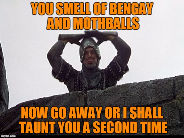 Now Go Away Or I Shall Taunt You A Second Time | YOU SMELL OF BENGAY AND MOTHBALLS NOW GO AWAY OR I SHALL TAUNT YOU A SECOND TIME | image tagged in taunting french guard,still not in the mood for tags | made w/ Imgflip meme maker