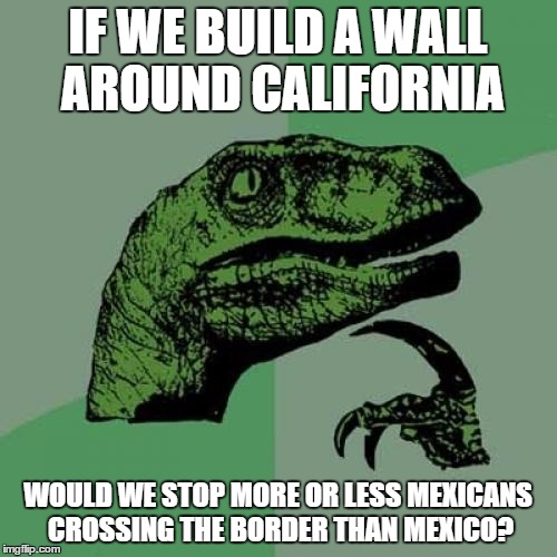 Philosoraptor Meme | IF WE BUILD A WALL AROUND CALIFORNIA WOULD WE STOP MORE OR LESS MEXICANS CROSSING THE BORDER THAN MEXICO? | image tagged in memes,philosoraptor | made w/ Imgflip meme maker