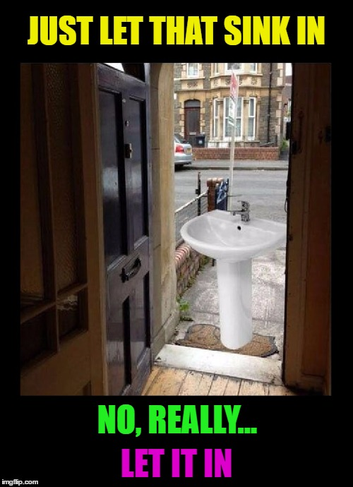 Puns are punny | JUST LET THAT SINK IN NO, REALLY... LET IT IN | image tagged in memes,funny,puns,bad puns,punny,imgflip | made w/ Imgflip meme maker
