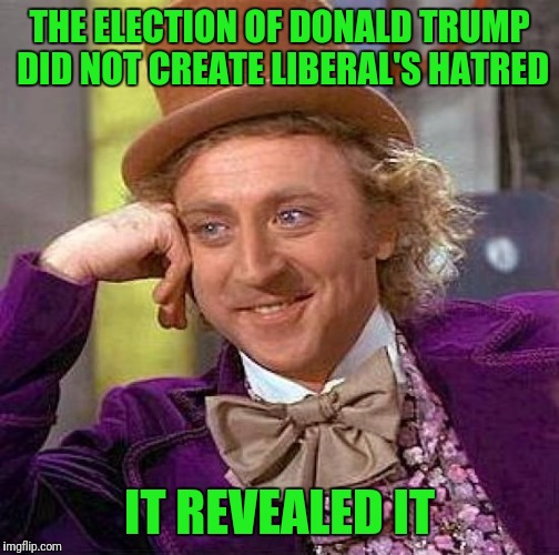 Creepy Condescending Wonka Meme | THE ELECTION OF DONALD TRUMP DID NOT CREATE LIBERAL'S HATRED IT REVEALED IT | image tagged in memes,creepy condescending wonka | made w/ Imgflip meme maker