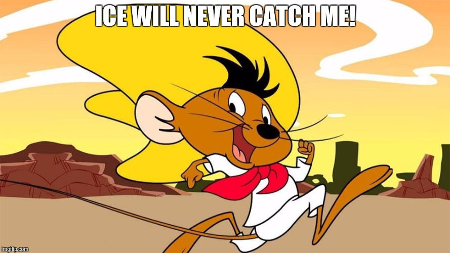 Speedy Gonzales | ICE WILL NEVER CATCH ME! | image tagged in speedy gonzales | made w/ Imgflip meme maker