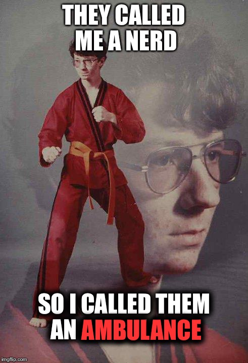 Karate Kyle Meme | THEY CALLED ME A NERD SO I CALLED THEM AN AMBULANCE AMBULANCE | image tagged in memes,karate kyle | made w/ Imgflip meme maker