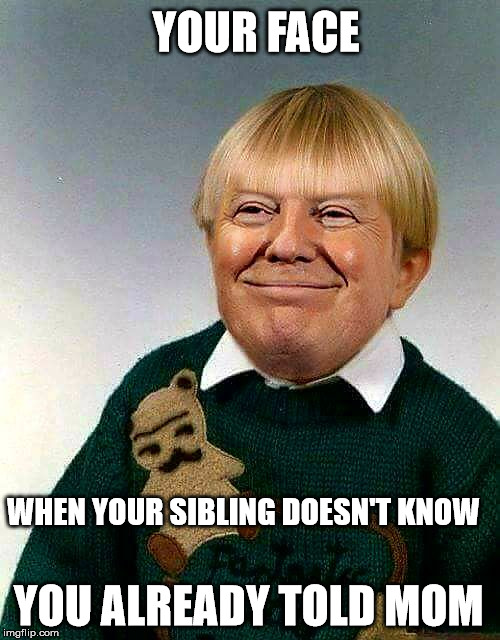 YOUR FACE WHEN YOUR SIBLING DOESN'T KNOW YOU ALREADY TOLD MOM | image tagged in donald trump | made w/ Imgflip meme maker