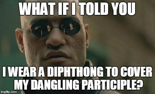 Matrix Morpheus Meme | WHAT IF I TOLD YOU I WEAR A DIPHTHONG TO COVER MY DANGLING PARTICIPLE? | image tagged in memes,matrix morpheus | made w/ Imgflip meme maker