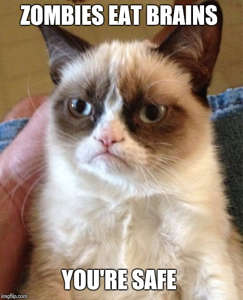Grumpy Cat Meme | ZOMBIES EAT BRAINS YOU'RE SAFE | image tagged in memes,grumpy cat | made w/ Imgflip meme maker