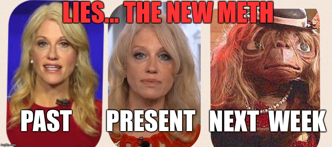Alternative Facts- Just Say No | LIES... THE NEW METH PAST PRESENT NEXT WEEK | image tagged in kellyanne conway alternative facts | made w/ Imgflip meme maker