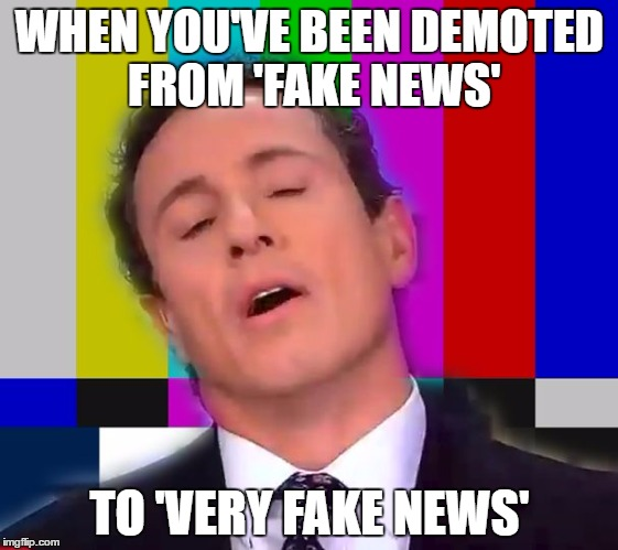 WHEN YOU'VE BEEN DEMOTED FROM 'FAKE NEWS' TO 'VERY FAKE NEWS' | image tagged in cnn oh no | made w/ Imgflip meme maker