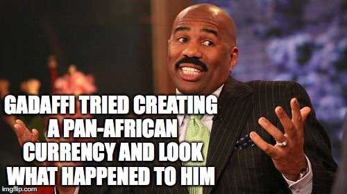 Steve Harvey Meme | GADAFFI TRIED CREATING A PAN-AFRICAN CURRENCY AND LOOK WHAT HAPPENED TO HIM | image tagged in memes,steve harvey | made w/ Imgflip meme maker