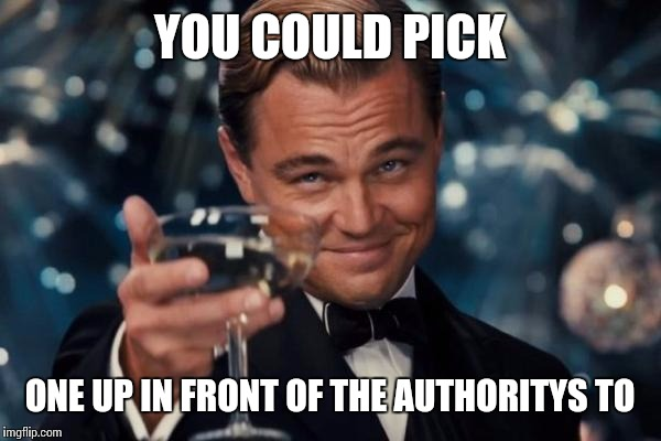 Leonardo Dicaprio Cheers Meme | YOU COULD PICK ONE UP IN FRONT OF THE AUTHORITYS TO | image tagged in memes,leonardo dicaprio cheers | made w/ Imgflip meme maker
