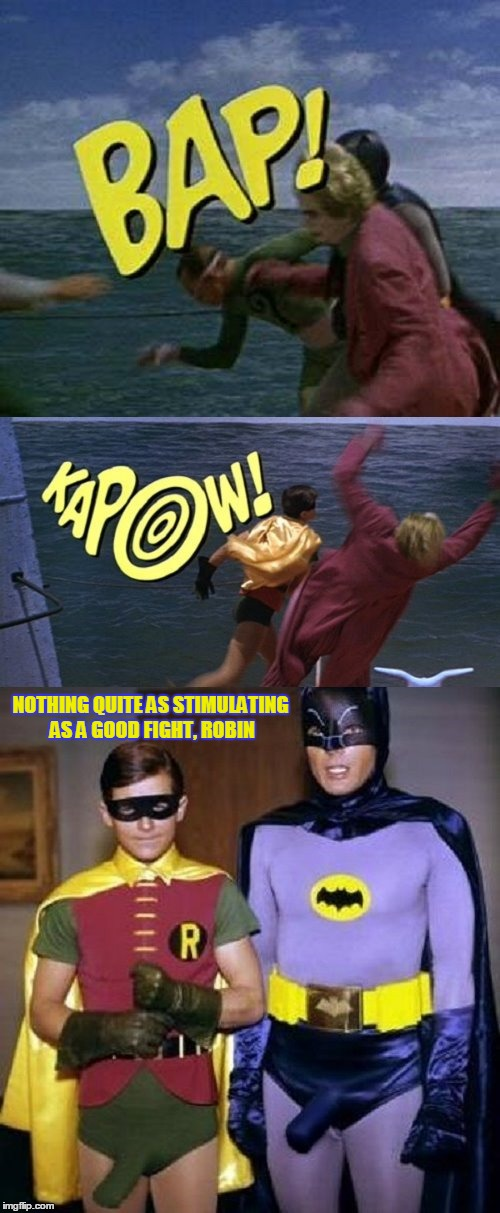 not quite a quote, per se... | NOTHING QUITE AS STIMULATING AS A GOOD FIGHT, ROBIN | image tagged in famous quote weekend,memes,batman and robin,batman | made w/ Imgflip meme maker