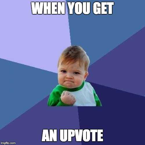 Success Kid Meme | WHEN YOU GET AN UPVOTE | image tagged in memes,success kid | made w/ Imgflip meme maker