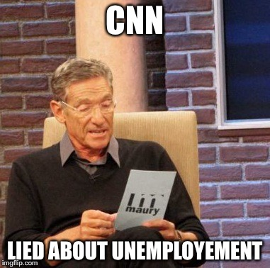 Maury Lie Detector |  CNN; LIED ABOUT UNEMPLOYEMENT | image tagged in memes,maury lie detector | made w/ Imgflip meme maker