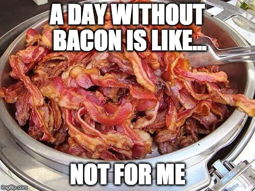 A day without bacon is a day wasted. | A DAY WITHOUT BACON IS LIKE... NOT FOR ME | image tagged in bacon,a day without | made w/ Imgflip meme maker