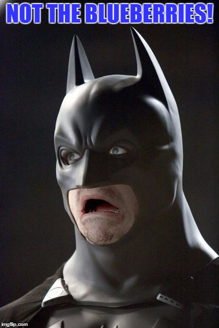Batman Gasp | NOT THE BLUEBERRIES! | image tagged in batman gasp | made w/ Imgflip meme maker