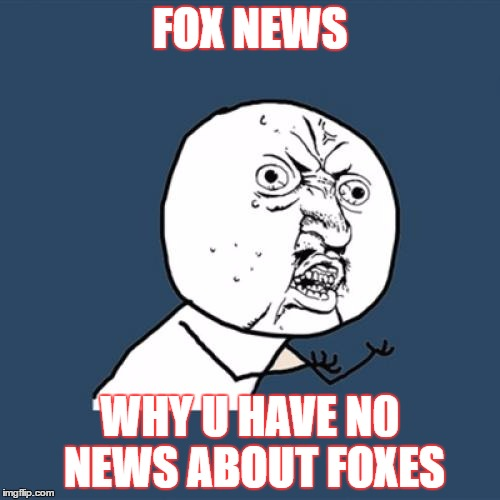 Y U No Meme | FOX NEWS WHY U HAVE N0 NEWS ABOUT FOXES | image tagged in memes,y u no | made w/ Imgflip meme maker