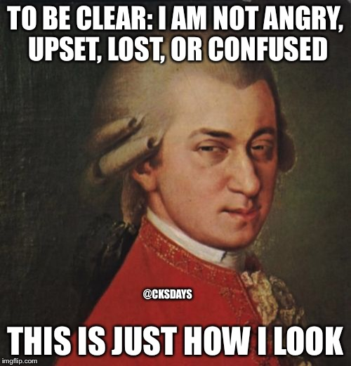 Mozart Not Sure | TO BE CLEAR: I AM NOT ANGRY, UPSET, LOST, OR CONFUSED THIS IS JUST HOW I LOOK @CKSDAYS | image tagged in memes,mozart not sure | made w/ Imgflip meme maker