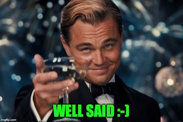 Leonardo Dicaprio Cheers Meme | WELL SAID :-) | image tagged in memes,leonardo dicaprio cheers | made w/ Imgflip meme maker