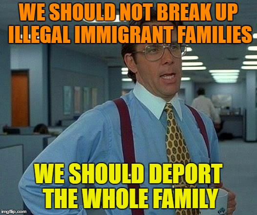 Nothing says the Kids Can't Go With the Parents ! | WE SHOULD NOT BREAK UP ILLEGAL IMMIGRANT FAMILIES WE SHOULD DEPORT THE WHOLE FAMILY | image tagged in memes,that would be great,deportation,illegal immigrants | made w/ Imgflip meme maker