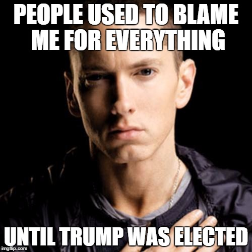 Eminem | PEOPLE USED TO BLAME ME FOR EVERYTHING UNTIL TRUMP WAS ELECTED | image tagged in memes,eminem | made w/ Imgflip meme maker