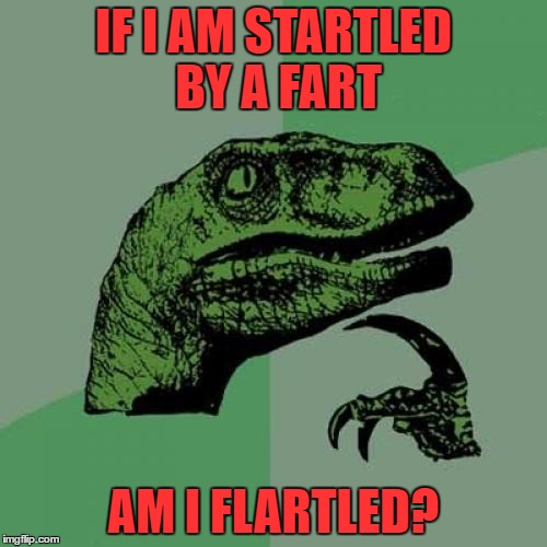 Philosoraptor | IF I AM STARTLED BY A FART AM I FLARTLED? | image tagged in memes,philosoraptor | made w/ Imgflip meme maker